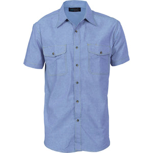 DNC Workwear-DNC Mens Twin Flap Pocket S/S Cotton Chambray-S / Chambray-Uniform Wholesalers - 2