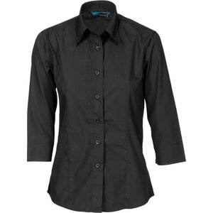 DNC Workwear-DNC Ladies Polyester Cotton 3/4 Sleeve Shirts-6 / Black-Uniform Wholesalers - 2