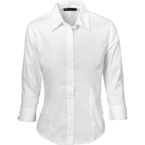 DNC Workwear-DNC Ladies Polyester Cotton 3/4 Sleeve Shirts-6 / White-Uniform Wholesalers - 3