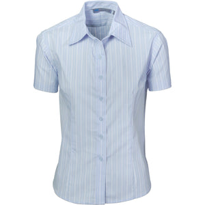 DNC Workwear-DNC Ladies Stretch Yarn Dyed Contrast S/S Stripe Shirt-6 / Light Blue/White/Blue-Uniform Wholesalers - 3
