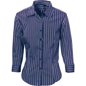 DNC Workwear-DNC Ladies Stretch Yarn Dyed Contrast 3/4 Sleeve Stripe Shirt-6 / Navy/White-Uniform Wholesalers - 2