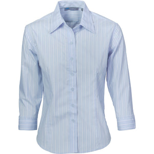 DNC Workwear-DNC Ladies Stretch Yarn Dyed Contrast 3/4 Sleeve Stripe Shirt-6 / Light Blue/White/Blue-Uniform Wholesalers - 3