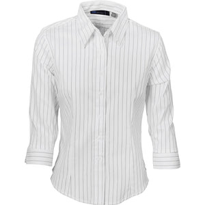 DNC Workwear-DNC Ladies Stretch Yarn Dyed Contrast 3/4 Sleeve Stripe Shirt-6 / White/Black/Peach-Uniform Wholesalers - 4