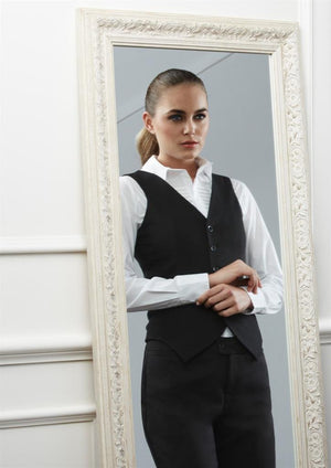 Biz Corporates-Biz Corporates Peaked Ladies Vest with Knitted Back--Corporate Apparel Online - 1