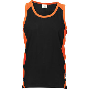 DNC Workwear-DNC Kids Cool-Breathe Contrast Singlet-Black/Orange / 4-Uniform Wholesalers - 1