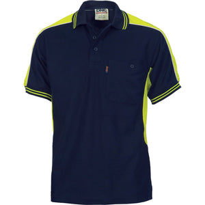 DNC Workwear-DNC Polyester Cotton Panel S/S Polo Shirt-Navy/Yellow / S-Uniform Wholesalers - 3