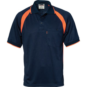 DNC Workwear-DNC Coolbreathe Contrast Polo-Navy/Orange / M-Uniform Wholesalers - 3