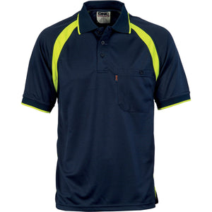 DNC Workwear-DNC Coolbreathe Contrast Polo-Navy/Yellow / XS-Uniform Wholesalers - 2