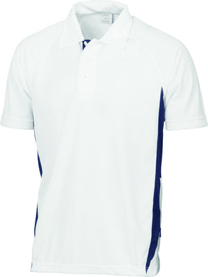 DNC Workwear-DNC Adult Cool-Breathe Side Panel Polo Shirt-White/Navy / S-Uniform Wholesalers - 7