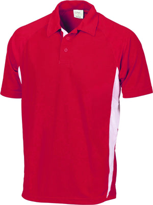 DNC Workwear-DNC Adult Cool-Breathe Side Panel Polo Shirt-Red/White / S-Uniform Wholesalers - 4