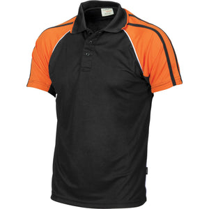 DNC Workwear-DNC Cool-Breathe Twin Stripe Contrast Raglan Polo-Black/White/Orange / S-Uniform Wholesalers - 2