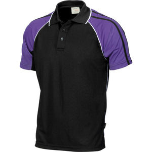 DNC Workwear-DNC Cool-Breathe Twin Stripe Contrast Raglan Polo-Black/White/Purple / S-Uniform Wholesalers - 3
