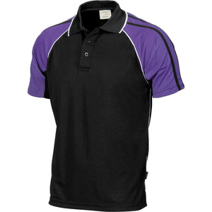 DNC Workwear-DNC Kids Cool-Breathe Twin Stripe Contrast Raglan Polo-6 / Black/White/Purple-Uniform Wholesalers - 1