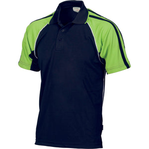 DNC Workwear-DNC Kids Cool-Breathe Twin Stripe Contrast Raglan Polo-10 / Navy/White/Lime-Uniform Wholesalers - 3