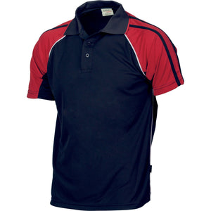 DNC Workwear-DNC Kids Cool-Breathe Twin Stripe Contrast Raglan Polo-6 / Navy/White/Red-Uniform Wholesalers - 4