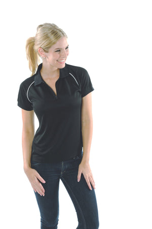 DNC Workwear-DNC Ladies Cool Breathe Rome Polo-Black/White / 8-Uniform Wholesalers - 2
