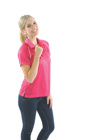 DNC Workwear-DNC Ladies Cool Breathe Rome Polo-Magenta/White / 8-Uniform Wholesalers - 7