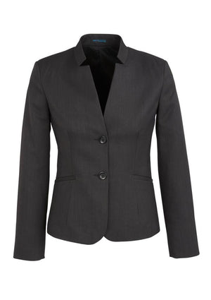 Biz Corporates-Biz Corporates Ladies Short Jacket with Reverse Lapel-Charcoal / 4-Corporate Apparel Online - 4