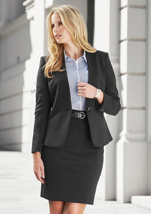 Biz Corporates-Biz Corporates Ladies Single Button Collarless Jacket--Corporate Apparel Online - 1