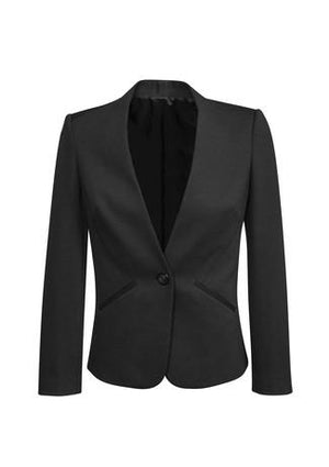 Biz Corporates-Biz Corporates Ladies Single Button Collarless Jacket-Charcoal / 4-Corporate Apparel Online - 2