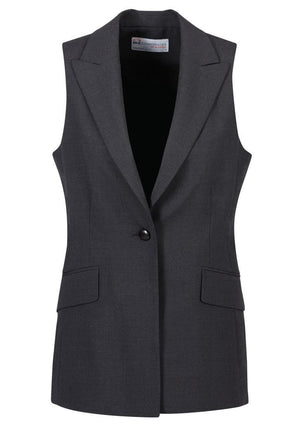 Biz Corporates-Biz Corporates Ladies longline Sleeveless Jacket-Charcoal / 4-Corporate Apparel Online - 4