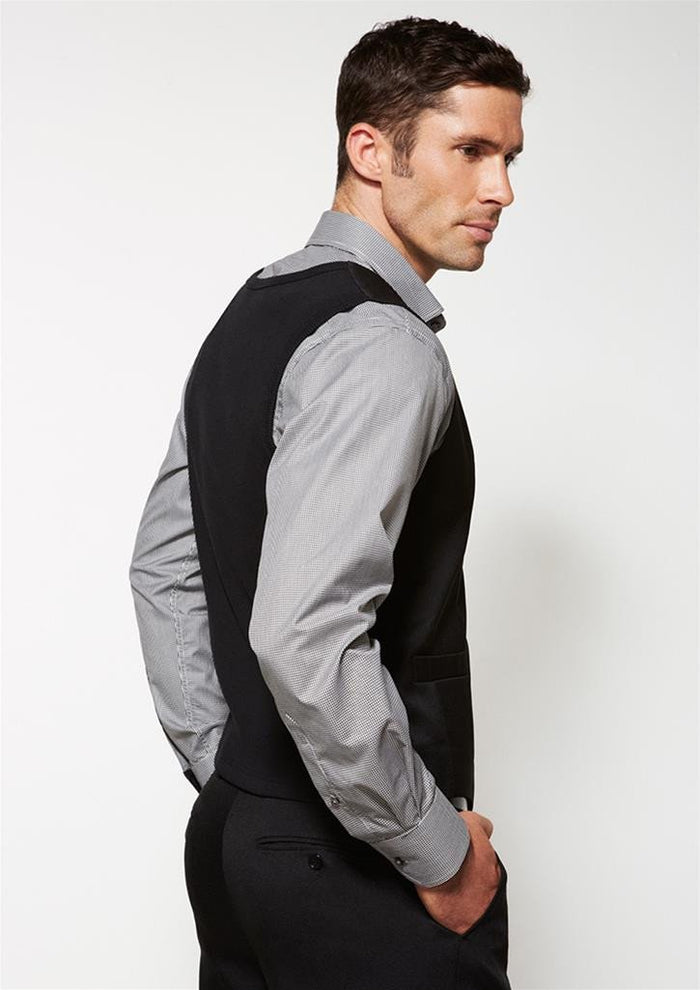 Biz Corporates Men's Peaked Vest with Knitted Back (90111)