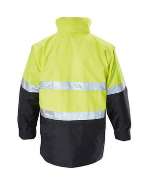 Hard Yakka  Foundations Hi-Visibility 6 In 1 Two Tone Jacket With Tape (Y06556)