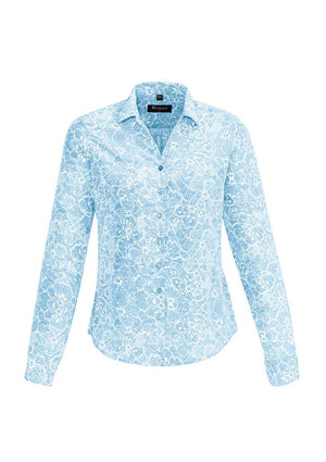 Biz Corporates-Biz Corporates Solanda Ladies Print Long Sleeve Shirt-Alaskan Blue / 4-Corporate Apparel Online - 4