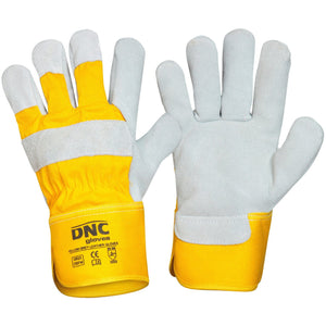 DNC Workwear-DNC Yellow Premium Grey Leather Glove--Uniform Wholesalers
