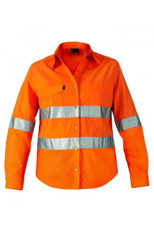 King Gee Workcool 2 Women's Hi-Vis Reflective Shirt Long Sleeve  (K44545)