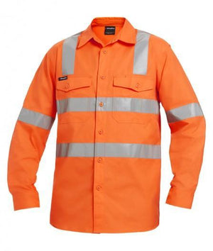 KingGee Workcool 2 Hi-Vis Reflective Shirt Long Sleeve Cross Pattern (K54895)