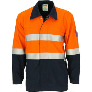 DNC Workwear-DNC Patron Saint Flame Retardant Two Tone Drill ARC Rated Welder's Jacket with 3M F/R Tape-Orange/Navy / XS-Uniform Wholesalers - 2