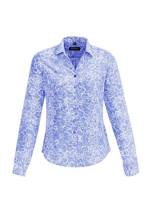 Biz Corporates-Biz Corporates Solanda Ladies Print Long Sleeve Shirt-Patriot Blue / 4-Corporate Apparel Online - 2