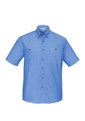 Biz Collection Mens Short Sleeve Wrinkle Free Chambray Shirt (SH113)