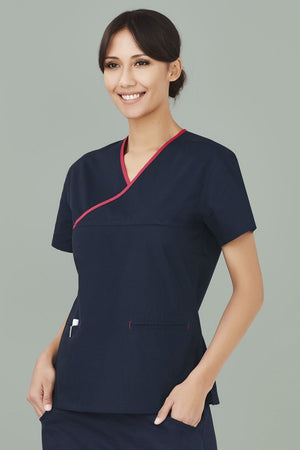 Biz Care Womens Contrast Crossover Scrub Top (H10722)