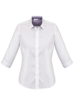 Biz Corporates-Biz Corporates Herne Bay Ladies 3/4 Sleeve Shirt-White/Purple Reign / 4-Corporate Apparel Online - 2