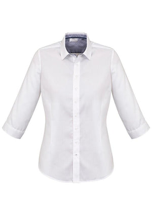 Biz Corporates-Biz Corporates Herne Bay Ladies 3/4 Sleeve Shirt-White/Turkish Blue / 4-Corporate Apparel Online - 5
