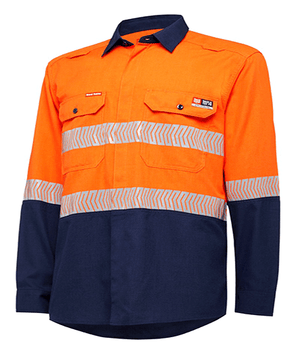 Hard Yakka Shieldtec Lenzing Fr Hi-Visibility Two Tone Long Sleeve Open Front Shirt With Tape (Y04370)