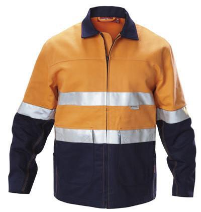 Hard Yakka  Hi-visibility Two Tone Cotton Drill Work Jacket With 3m Tape (Y06545)