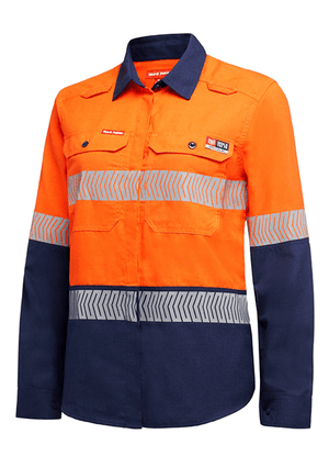 Hard Yakka Shieldtec Lenzing Fr Women'S Hi-Visibility Two Tone Long Sleeve Open Front Shirt With Tape(Y08330)