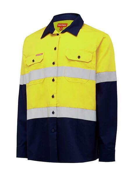Hard Yakka L/Sl Hi Vis L/Weight 2 Tone Ventilated Shirt W/Tape (Y08805)