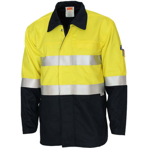 DNC Workwear-DNC Patron Saint Flame Retardant Two Tone Drill ARC Rated Welder's Jacket with 3M F/R Tape-Yellow/Navy / XS-Uniform Wholesalers - 1