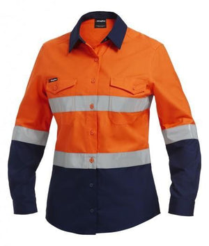 King Gee Workcool 2 Women's Hi-Vis Reflective Spliced Shirt Long Sleeve (K44544)