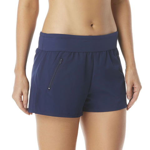 Beach House April Stretch Woven Beach Short - Beach Solids H58028 BLACK & NAVY