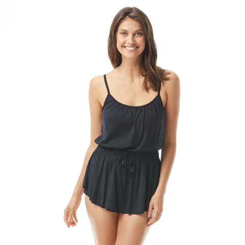 Beach House Iris Cinched Waist Swimdress - Beach Solids SKU H58533 BLK & navy