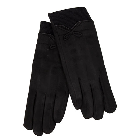 SiMl BLACK LADIES WINTER GLOVES WITH RIBBED CUFF 10221
