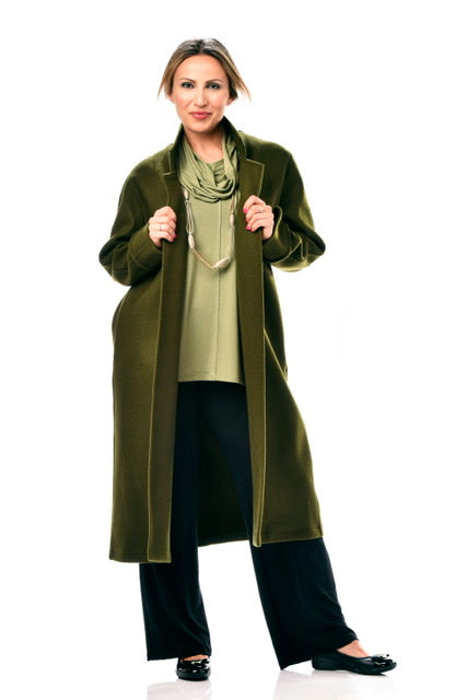 RAPZ LIFESTYLE LONG WOOL COAT EVERGREEN 3700