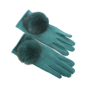 SiMl LADIES GREEN WINTER GLOVES WITH POMPOM 09444