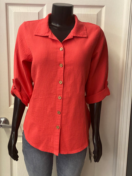 EZZE WEAR 100% COTTON PATSY SHIRT 615 CORAL, NAVY & BLACK