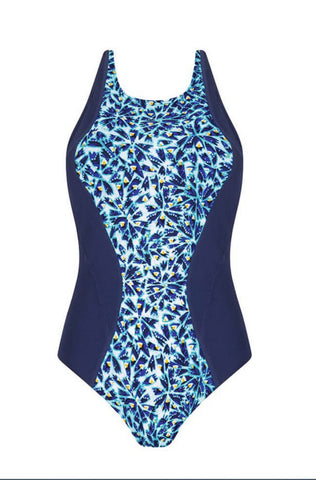 AMOENA Ice Flowers One-Piece High Neck Swimsuit - frozen/night blue 71452 C CUP